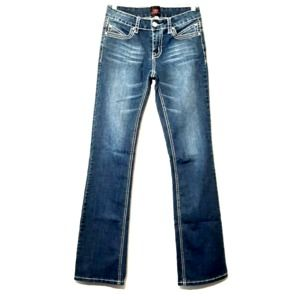 2B Bebe blue bootcut embellished button flap jeans